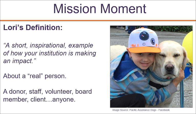 Combine Mission Moments with Money stories