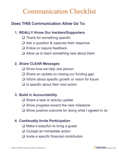 ignited fundraising communication checklist