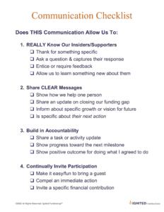 ignited fundraising communication checklist